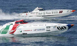 Cowes Torquay Powerboat Race from a Chartered Yacht in The Solent