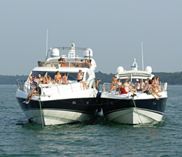 Guests Enjoying a Private Luxury Sunseeker Motor Yacht Charter in The Solent