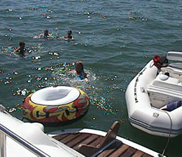 Swimming in The Solent on a Luxury Motor Yacht Charter