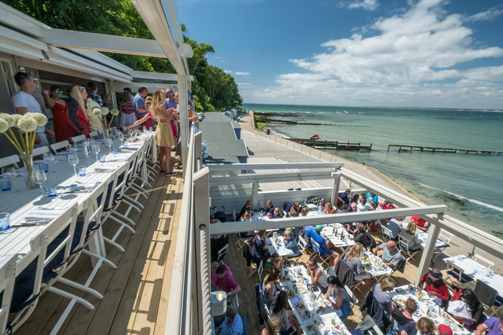 the hut colwell bay london sunseeker charter solent marine events