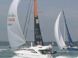 Watching the Round island Race from a chartered yacht
