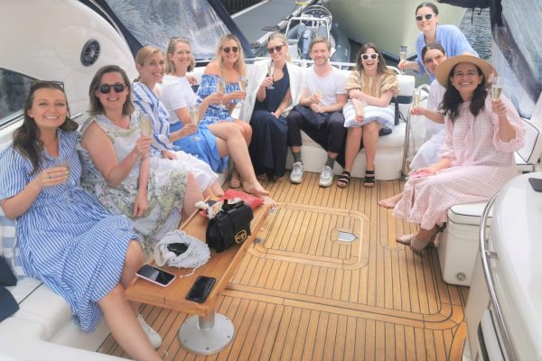 ladies day sunseeker charter Cowes to Southampton Sunseeker party